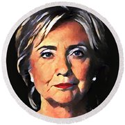Hillary Clinton Round Beach Towel by Dan Sproul
