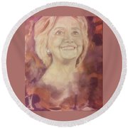 Round Beach Towel featuring the painting Hillary Clinton by Raymond Doward