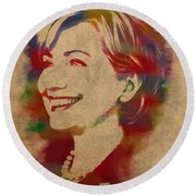 Hillary Rodham Clinton Watercolor Portrait Round Beach Towel