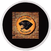 Hillcrest Elementary Panthers Sign Round Beach Towel