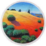 Hills And Beyond Round Beach Towel by Gary Coleman