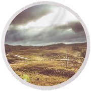 Hills And Outback Tracks Round Beach Towel