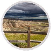 Hills Behind The Fence Round Beach Towel