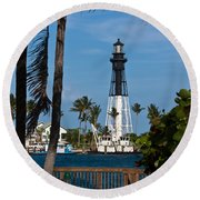 Hillsboro Inlet Lighthouse And Park Round Beach Towel