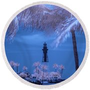 Hillsboro Inlet Lighthouse Infrared Round Beach Towel