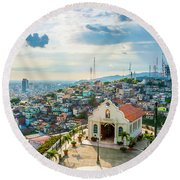 Hilltop Church Round Beach Towel