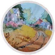 Hilltop Homestead Round Beach Towel