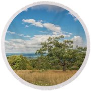 Hilltop Tree Round Beach Towel