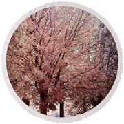 Round Beach Towel featuring the digital art Hilltop Trees by Bonnie Willis