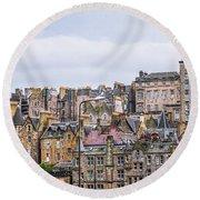 Hilly Skyline Of Edinburgh Round Beach Towel