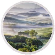 Hilly Tuscany Valley At Morning Round Beach Towel