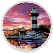 Round Beach Towel featuring the painting Hilton Head Harbour Town Lighthouse by Christopher Arndt