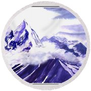 Himalaya Round Beach Towel by Anil Nene