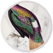Himalayan Monal Pheasant Round Beach Towel by John Gould
