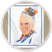 Himalayan Smile Lines -- Portrait Of Old Asian Woman Round Beach Towel