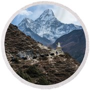 Round Beach Towel featuring the photograph Himalayan Yak Train by Mike Reid
