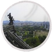 Himeji City From Shogun's Castle Round Beach Towel