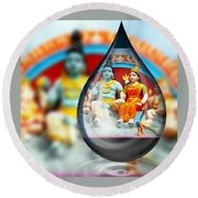 Hindu Deities Round Beach Towel