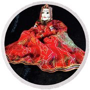 Hindu Hand Crafted Doll Round Beach Towel