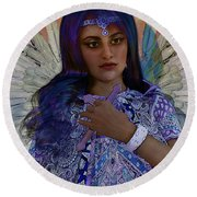 Round Beach Towel featuring the painting Hindustani Angel by Suzanne Silvir