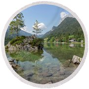 Round Beach Towel featuring the photograph Hintersee, Bavaria by Andreas Levi