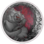 Hints Of Red - Rose Round Beach Towel