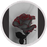 Hints Of Red- Single Rose Round Beach Towel