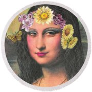 Hippie Gioconda Round Beach Towel