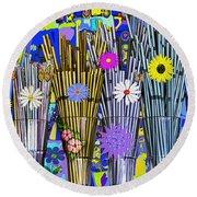 Round Beach Towel featuring the digital art Hippie Hippie Straws by Eleni Mac Synodinos