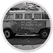 Hippie Van, San Francisco 1970's Round Beach Towel