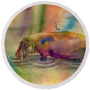 Hippy Dippy Round Beach Towel by Amy Kirkpatrick