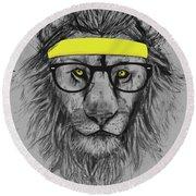 Hipster Lion Round Beach Towel