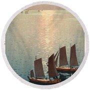 Hiroshi Yoshida, Hikaru Umi, The Sparkling Sea, 1926 Round Beach Towel