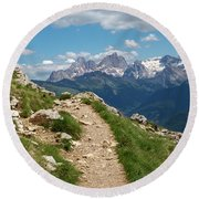 Round Beach Towel featuring the photograph Hirzelsteig, South Tyrol by Andreas Levi