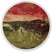 His Crucifiction Round Beach Towel