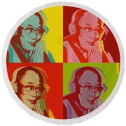 Round Beach Towel featuring the digital art His Holiness The Dalai Lama Of Tibet by Jean luc Comperat