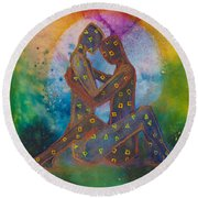 His Loves Embrace Divine Love Series No. 1007 Round Beach Towel
