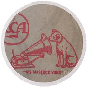 Round Beach Towel featuring the photograph His Masters Voice Rca by Edward Fielding