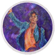 His Purpleness - Prince Tribute Painting - Original Art Round Beach Towel