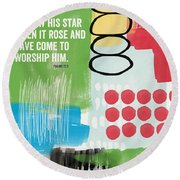 His Star Rose- Contemporary Christian Art By Linda Woods Round Beach Towel
