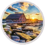 Historic Anderson Dock In Ephraim Door County Round Beach Towel