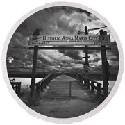 Historic Anna Maria City Pier 9177436 Round Beach Towel