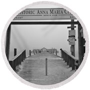 Historic Anna Maria City Pier In Fog Infrared 52 Round Beach Towel