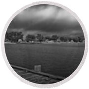 Historic Anna Maria City Pier In Infrared Round Beach Towel