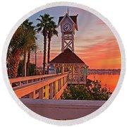 Historic Bridge Street Pier Sunrise Round Beach Towel
