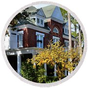 Round Beach Towel featuring the photograph Historic Brunswick Residence by Laura Ragland