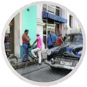Historic Camaguey Cuba Prints The Cars 2 Round Beach Towel