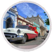 Historic Camaguey Cuba Prints The Cars Round Beach Towel