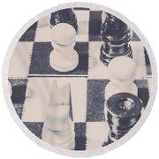Historic Chess Nostalgia Round Beach Towel