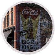 Historic Coca Cola Brick Ad - Fort Collins - Colorado Round Beach Towel by Gary Whitton